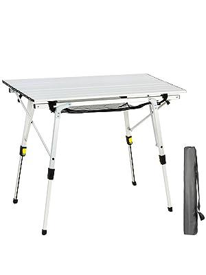 Mesa Plegable Acampada Aluminio Altura Ajustable Portátil al Aire Libre para Picnic Cocina Pesca Playa 90x53cm