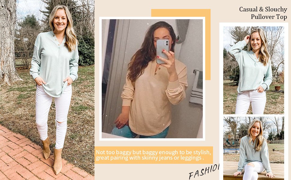 Oversize Pullover Blouse Tops