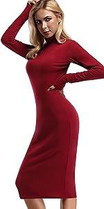 mock turtleneck party dress bodycon ong dress