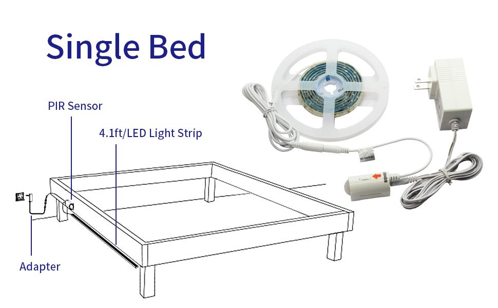 Bedside Motion Sensor Bed Lights 12V Flexible Led Strip Lights 4.1ft Amber Led Tape Light Dustproof and Antistatic Led Night Light for Crib Cabinet and Edge Decor Stairs 1 Pack