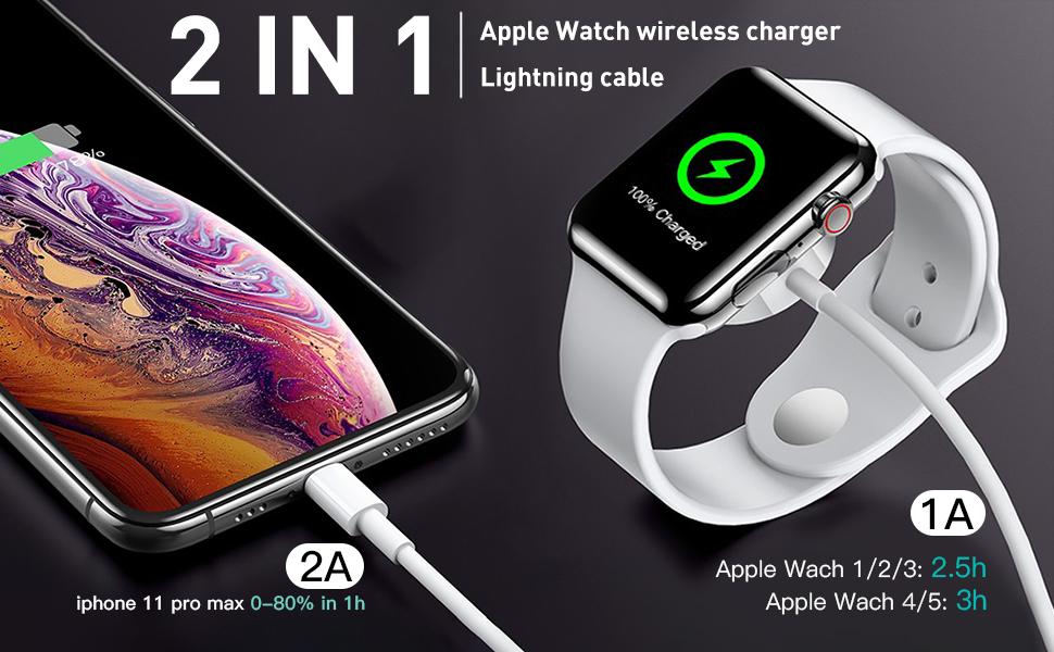 AICase iWatch Chargeur, 2 en 1 Câble de Charge magnétique pour Apple WatchiWatch 38mm 40mm 42mm 44mmApple Watch Series 1,2,3,4,5 et iPhone ipad,1.2M