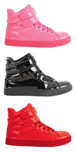 High Top Sneaker Alexandra, Glossy Sneaker, Glossy High Top Sneaker, Pink Sneaker, Red Sneaker