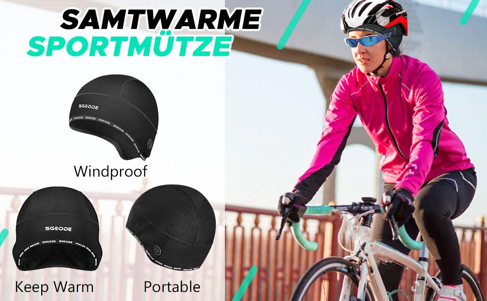 SGODDE Fahrrad Mütze CapsWarm Winddichte Wintermütze für Herren Damen Helm-Un...