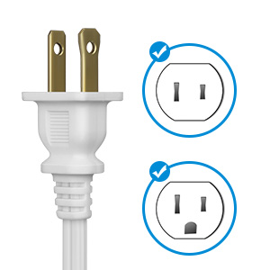 2 prong plug and outlet not grounded power cable