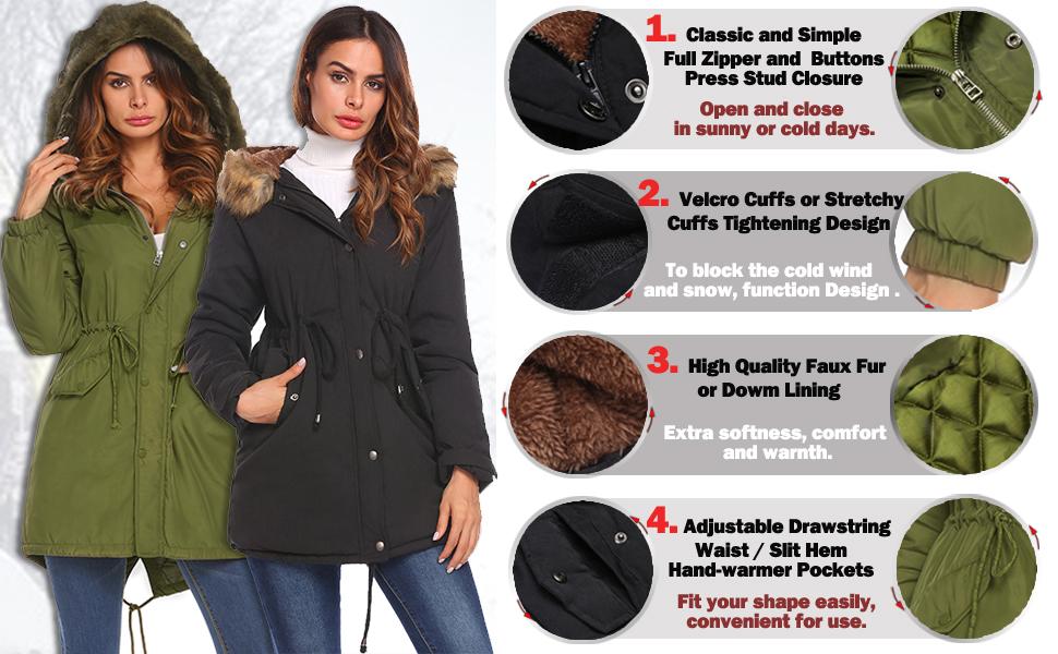 ELESOL Womens Hooded Warm Winter Coats with Faux Fur Lined Outwear Jacket