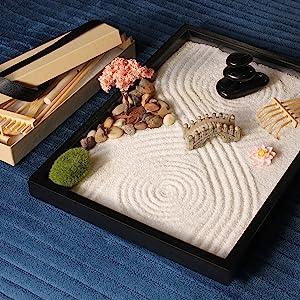 Master Complex Patterns. Zen Garden Gardening. Bridge Zen Rocks Moss Rakes Sakura Cherry Blossom
