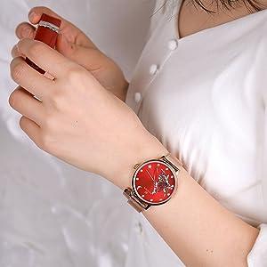 women red  watch