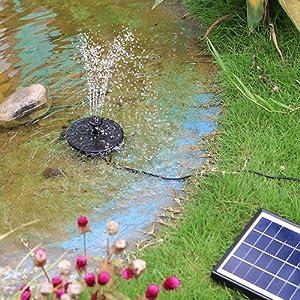 para ba/ño de Aves jard/ín 6 boquillas Bomba de Fuente Solar para jard/ín de p/ájaros Bird Backyard Exterior Piscina Zwindy Bomba de Fuente de Agua con energ/ía Solar Estanque