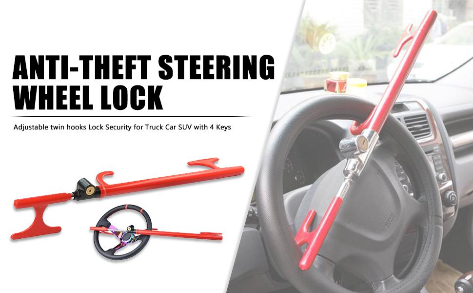 Heavy Duty Double Hook Car Steering Wheel Lock /& Signal Blocker Pouch