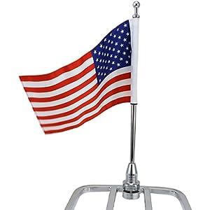 FlagPole Mount Thin Blue Line USA Flag Round Luggage Rack Harley Davidson