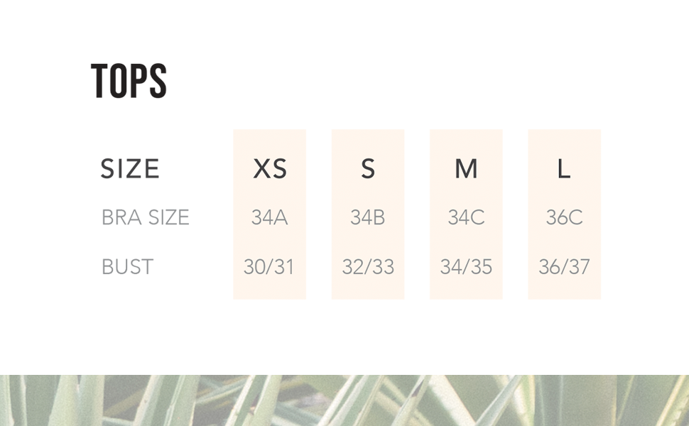 Swim Systems size chart for tops.