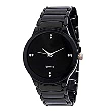 Black Analogue Watch for Men with Day and Date