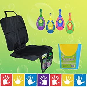 Everyday Essentials: Car Seat Protector, Toothbrush, and Shampoo Rinse Cup