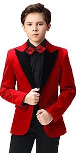 Boihedy Boys Suit Jacket for Kids Formal Velvet Blazer