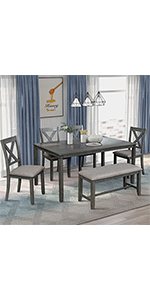 Wood Dinning Room Set with Bench and Chairs