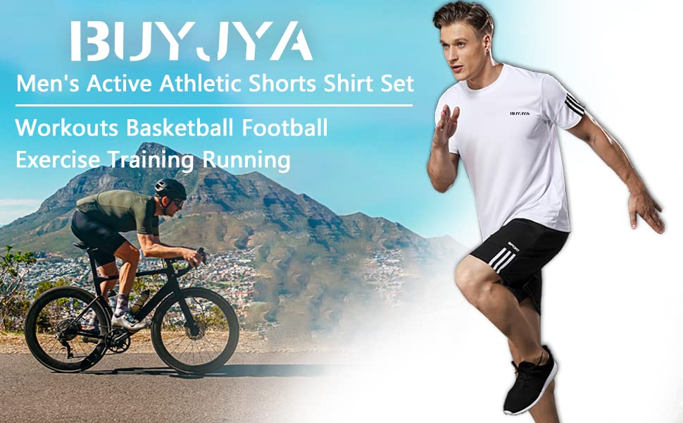 BUYJYA Mens Active Athletic Shorts Shirt Set 3 Pack for Workouts Basketball Football Exercise Training Running