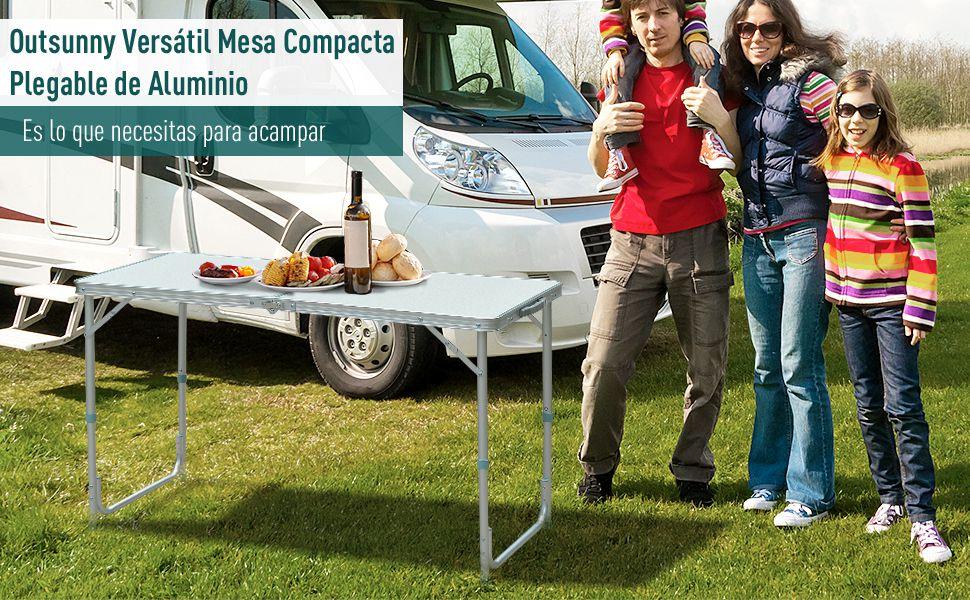 HOMCOM Outsunny Mesa Madera de Camping Plegable Convertible en Maleta Altura Regulable para Picnic 120x60x54-70 cm con Marco de Aluminio