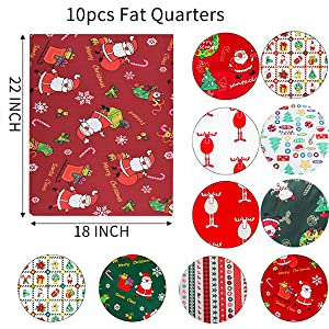 Christmas fabric Bundle of 6 FAT QUARTERS 100/% cotton Premium Quality designer Fabric and general sewing projects.