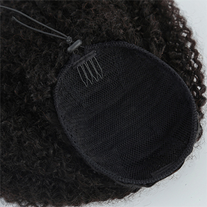 Afro kinky curly human virgin hair Afro puff ponytail clip in hair extension