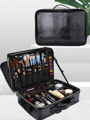 Travel Makeup Case, Cosmetic Train Case Organizer Portable Artist Storage Makeup Bag with Adjustable
