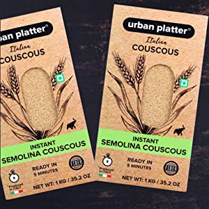Urban Instant Italian Semolina Couscous, 1Kg / 35.2oz [High in Fiber, Ready in Minutes] SPN FOR 1