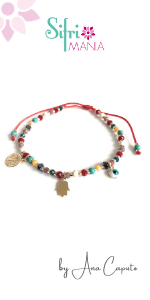 Saint Benedict Rainbow Bead Bracelets for Women Evil Eye Hamsa Pendants