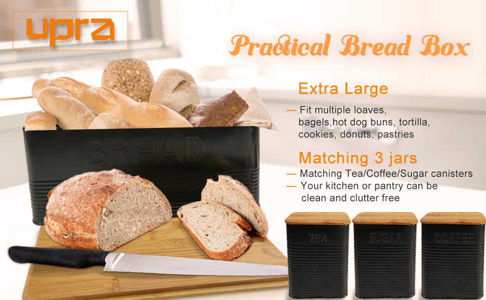 Set of 4 kitchen Counter Organizer Black Farmhouse Vintage Old Fashion Industrialized Bread Coffee Sugar Tea Boxes//Bins upra Large Bread Holder With Eco Bamboo Cutting Board Lid