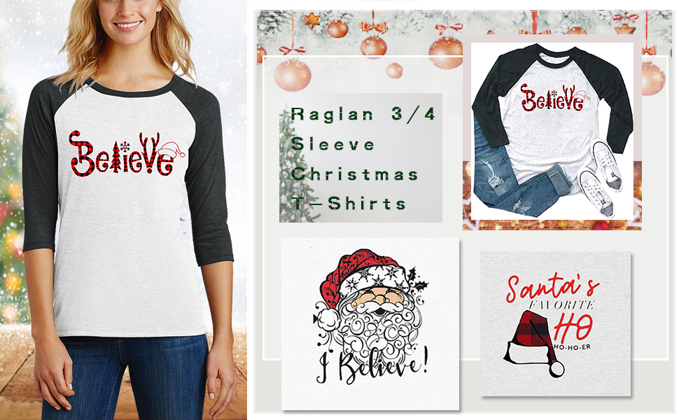 I Believe Christmas Shirts Women Santa Claus Print Raglan 3/4 Sleeve Splicing Tops