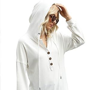 Drawstring Hooded Henley Tops Sweatshirt Blouses