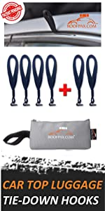 rooftop cargo tie down hooks for strapping any car top luggage motorcycle on top of vahicle