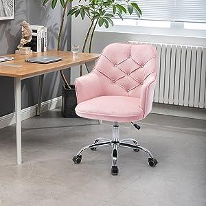 desk chair velvet pink