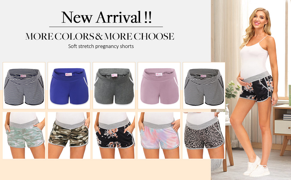 Maternity Shorts Pregnancy Yoga Shorts in Cotton Fold over waist band NEW