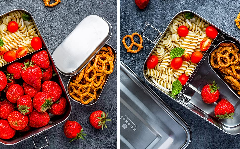 Extra Large Leak Proof Stainless Steel Bento Lunch Box with Mini Container and Removable Divider