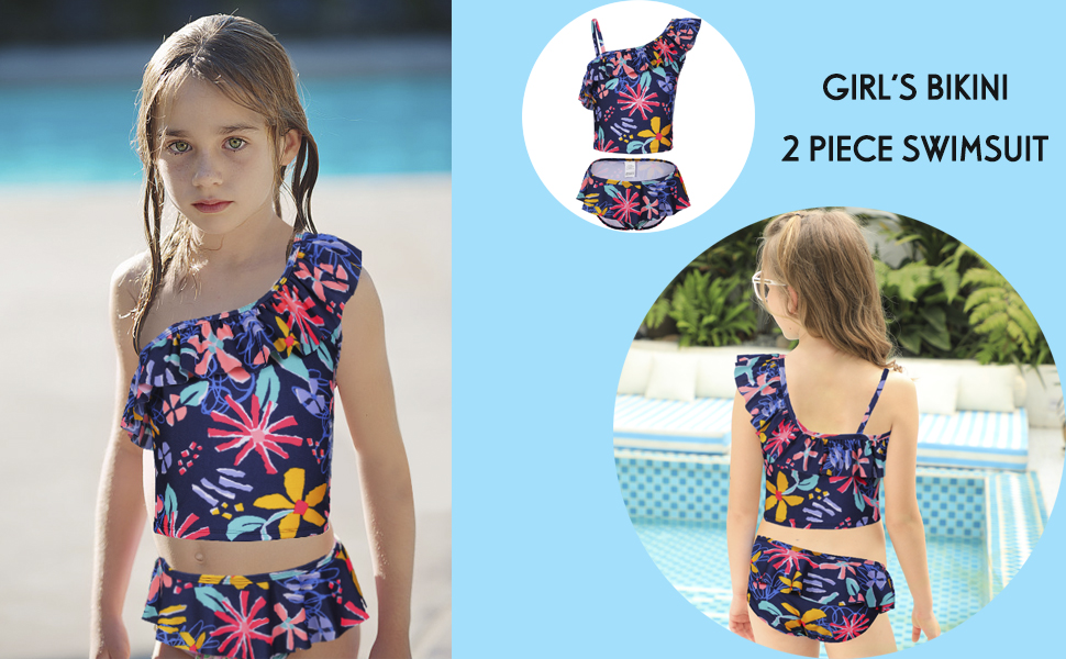 DUSISHIDAN Kids Girls Two-Piece Tankini Swimsuit White Dot Ruffle Swimwear Bathing Suit Set for Age 6-14 Years