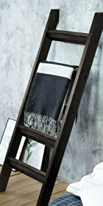 Blanket Ladder Wood Rustic Decorative - Black
