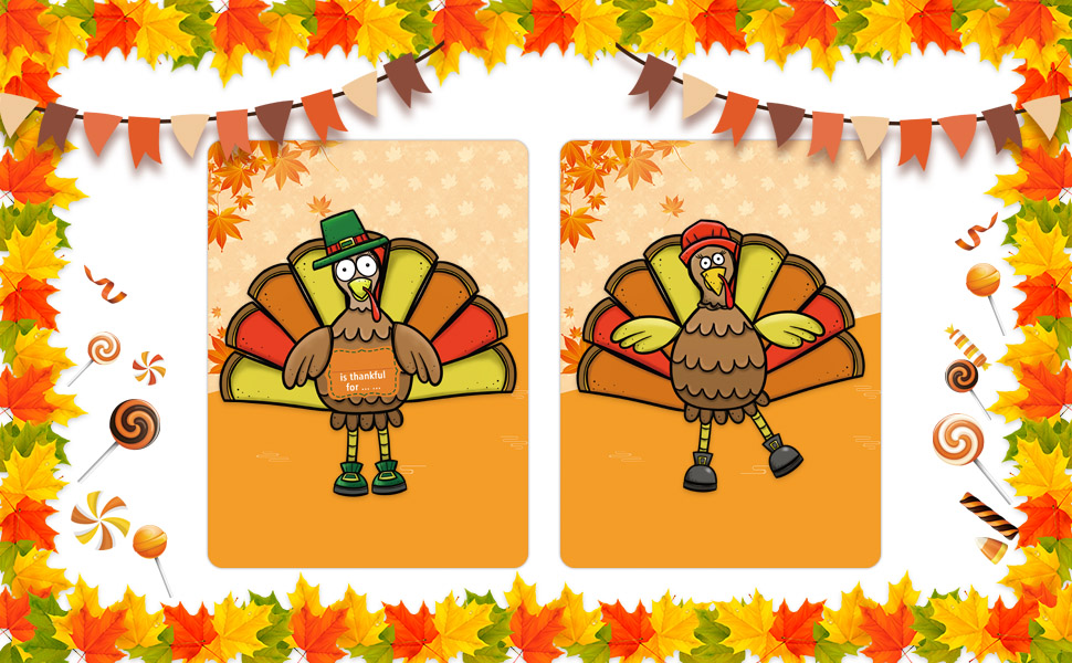Party Favors 10 Thanksgiving Turkey Large Stickers