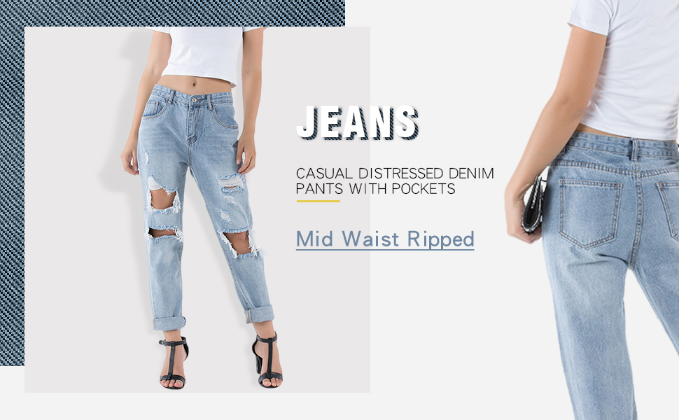Mid Waist Ripped Jeans