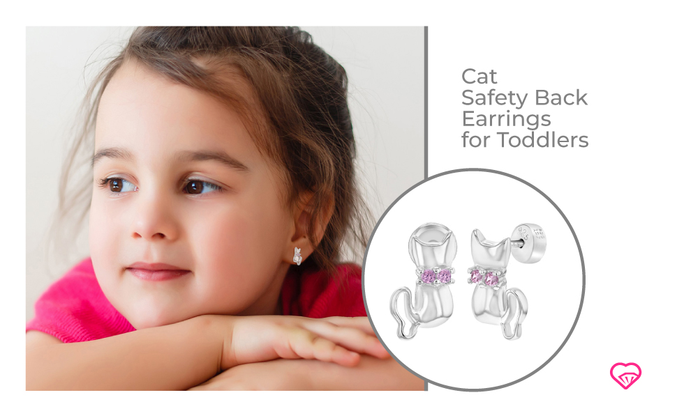 Animal Cat Screw Back Earrings for Toddlers 925 Sterling Silver Pink Cubic Zirconia Kitten with Ribbon Studs for Young Girls Young Girls /& Pre Teens- Pretty /& Charming Kitty Cat Stud Earring