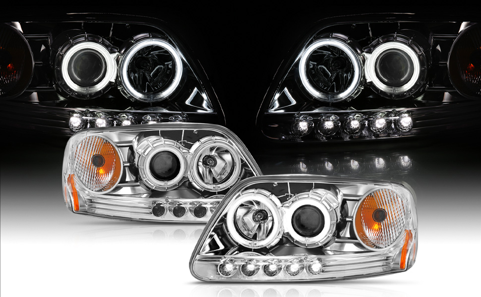 Black Headlight Lamp Ford F-150 F150 Lightning Style Expedition lightduty 2-door -3-door supercab
