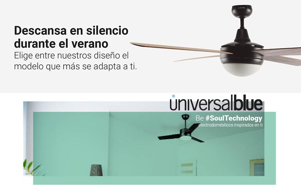 UNIVERSALBLUE | Ventilador de Techo de Madera | Mando a Distancia ...