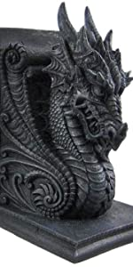 Fierce Dragon Bookends mystical  Gothic Castle Dragons Sculptural Bookends fantacy game of throns