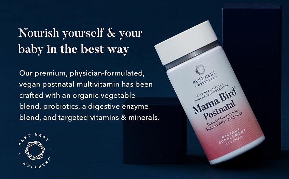 Mama Bird Postnatal Multi+, Once Daily, Organic, L-Methylfolate (Folic Acid), Methylcobalamin (B12),