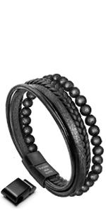 Lava Rock Leather Bracelet