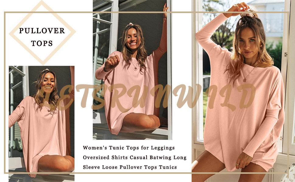 Oversized T-Shirts Batwing Long Sleeve Tunic Shirt for women