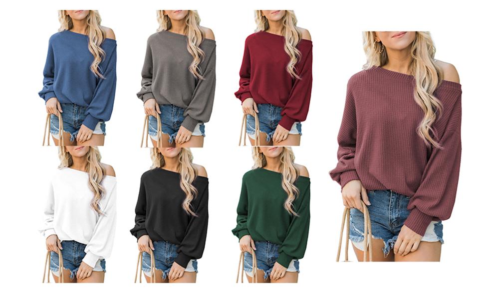 women batwing off shoulder sweater tops