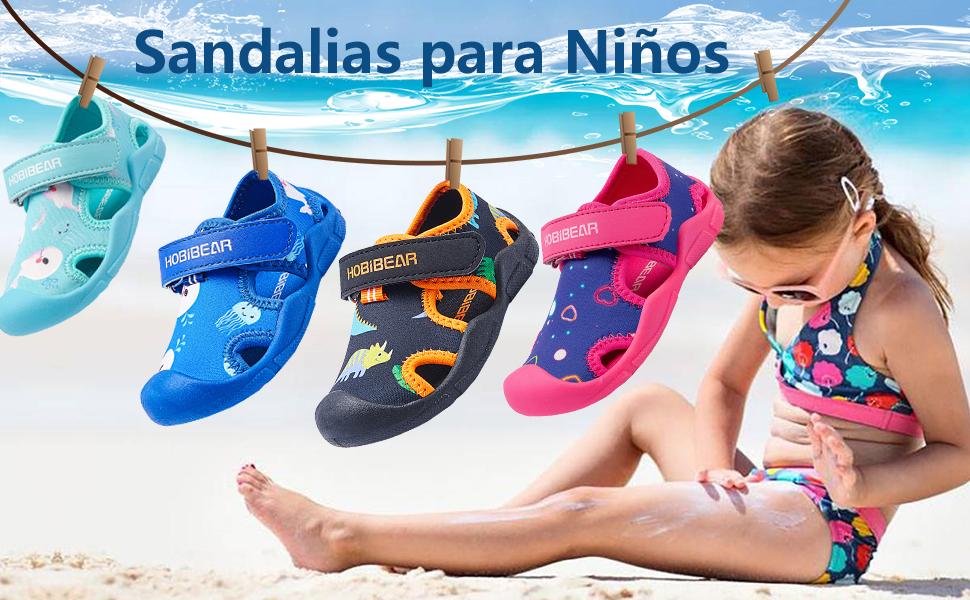 Gaatpot Sandalias Deportivas para Unisex ni/ños Aire Libre Deporte Zapatillas de Senderismo Sandalias con Punta Cerrada Zapato 21.5-30.5 EU