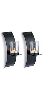 black candle sconces