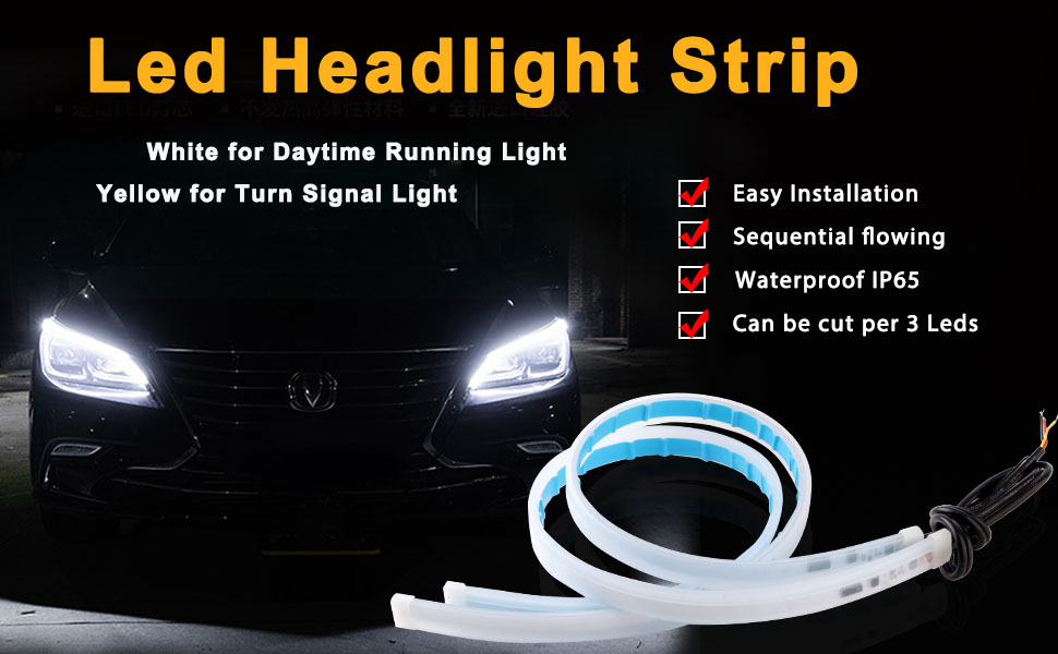 LED Headlight Stirp Tube Lights Day Time Light DRL LED Kit Car Switchback Light Turn Signal Light