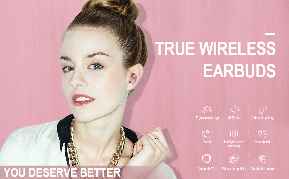 pink wireless earbuds