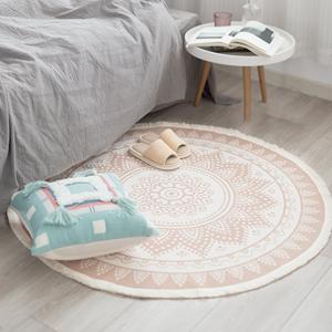 throw mats indoor woven circle area rug round mandala bedroom living room rugs boho 4 ft fringe kids